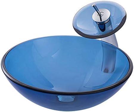 洗面ボウル 現代の強化ガラス容器ボウルシンクの青い滝クローム蛇口コンボ、ポップアップシンクドレイン 洗面台 洗面器 (Color : Blue, Size : 42x42x14.5cm)