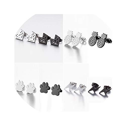 (Stainless Steel Fox Stud Earrings For Women Girls Cute Animal Paw Earings Pineapple Lighting Earrings Jewelry Gifts,Geometric Ged010,Silver Earrings)
