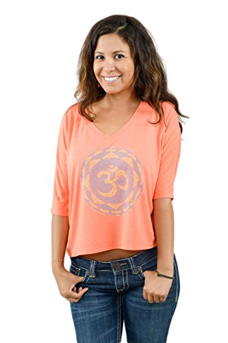 Think Positive Apparel Womens Om V-Neck Cropped 3/4 Sleeve Tee |XXL