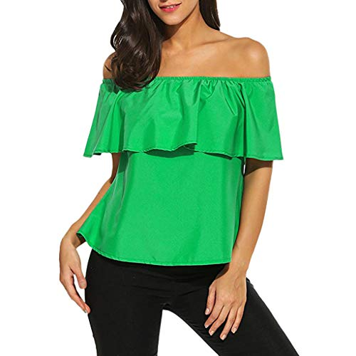 (Women Summer Casual Off Shoulder Ruffle T Shirt Short Sleeve Sexy Chiffon Printed Blouse Top by Lowprofile)