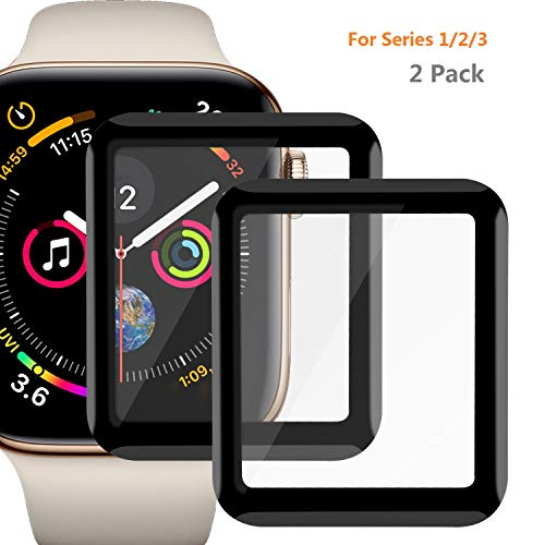 Price comparison product image Tamick Apple Watch Screen Protector,  3D Tempered Glass Screen Protector Anti-Scratch Bubble-Free Extra-Thin Ultra-Clear for iWatch Series 1 / 2 / 3 (Series 3 42mm)
