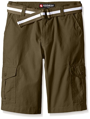 Southpole Boys' Belted Ripstop Basic Cargo Shorts, Olive, 12
