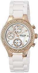Breda Women's 5192-rosegold/white Chiffon Rich Rhinestone Bezel Rose Tone Bracelet Watch