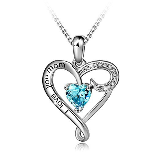 Mother's Birthday Gift 'I Love You Mom' S925 Sterling Silver Heart Pendant Necklace (I Love You Mom-Blue Heart)