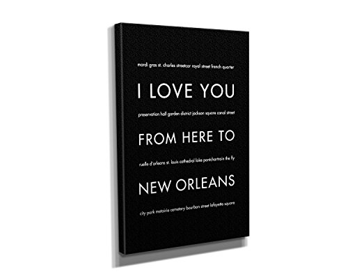 New Orleans Stretched Canvas in Black, Size 8