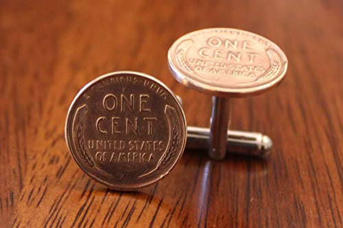 One Cent Coin Cufflinks - Wheat Penny cuffs, One Cent Cufflinks, Vintage Coin Cuff Links, American History gift, Lincoln present, novelty for him, stocking stuffer