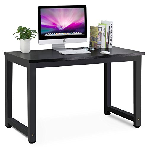 Style Desk (Tribesigns Modern Simple Style Computer Desk PC Laptop Study Table Office Desk Workstation for Home Office, Black + Black Leg)