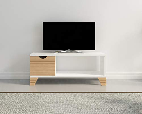 (Decorotika Fun Osco TV Stand and Media Console - Great for Kids Room!! (White and Teak))