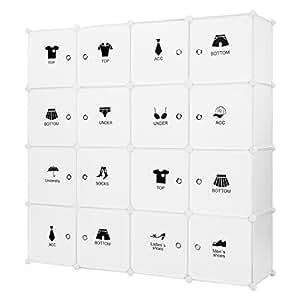 LANGRIA Armario Modular Organizador Convertible de 16 Cubos con Puertas, 1 Barra para Colgar Ropa, Pegatinas Adhesivas Decorativas, Mueble Organizador Ropa, Zapatos, Accesorios, Juguetes (Blanco)