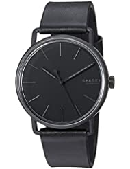 Skagen Mens Falster Quartz Stainless Steel and Leather Casual Watch, Color:Black (Model: SKW6398)