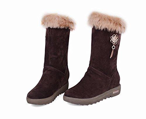 Carolbar Womens Faux Fur Retro Comfort Low Heel Short Boots Brown W5jFST