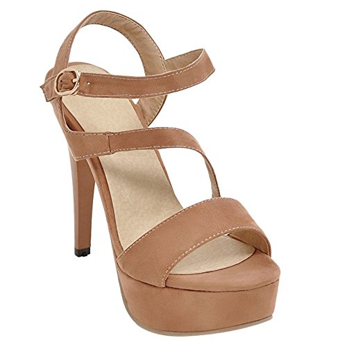 Mee Shoes Women's Chic Stiletto Buckle Platform Sandals apricot