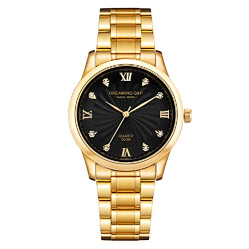 Ip Gold Plating Steel Roman Numeral Dial with Rhinestones Luxury Mens Wrist Watches for Man Black (Gold Gentlemans Wrist Watch)