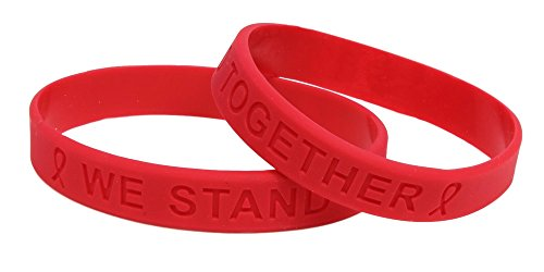 Red Ribbon Awareness Silicone Bracelet 25 Pack -