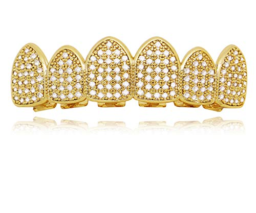 LuReen 14k Gold Silver Pave Full CZ Grillz 6 Top and Bottom Hip Hop Teeth Sets (Gold Top)]()