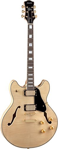 Luna ATH 501 NAT Athena Semi-Hollow-Body Electric Guitar, Gloss Natural