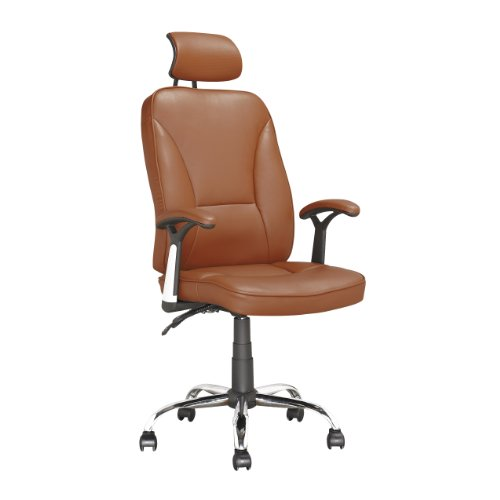 CorLiving LOF-699-O Executive Office Chair, Light Brown Leat