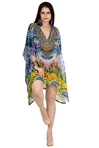Embellished Kaftan - Silk kaftan Neck line Heavily Embellishment Short Unique Kaftan Dress/Beach and Resort wear/Beach Cover up Kaftan 387