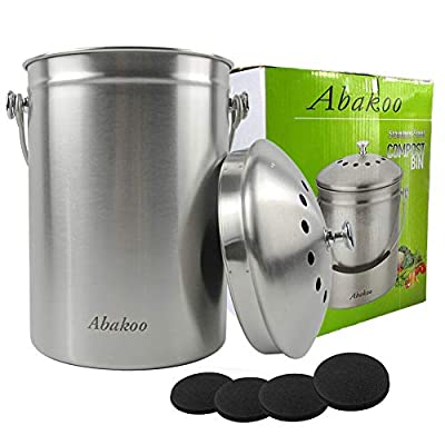 Compost Bin Countertop, Composter Bucket with Lid Abakoo 1.6 Gallon Stainless Steel Kitchen Waste Pail Plus 4pcs Bonus Charcoal Filters Clean & Odor Free