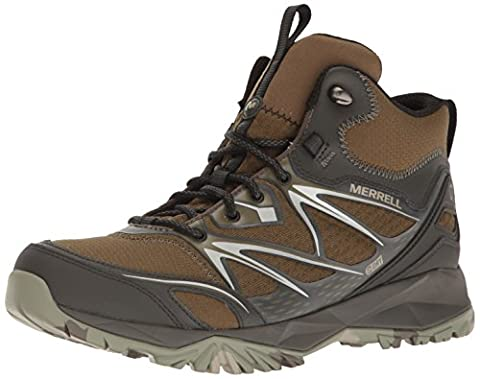 Merrell Men's Capra Bolt Mid Waterproof Hiking Boot, Dark Olive, 11 M US - Leather Mid Waterproof Boot