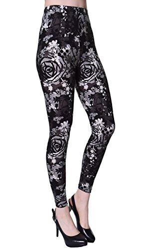 VIV Collection Regular Size Printed Leggings (Goth -