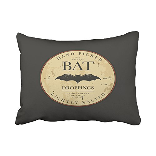 Accrocn Bat Droppings Vintage Halloween Label Throw Pillow Covers Cushion Cover Case 20X26 Inches Pillowcases One (Halloween Dropping Bat With Wings)