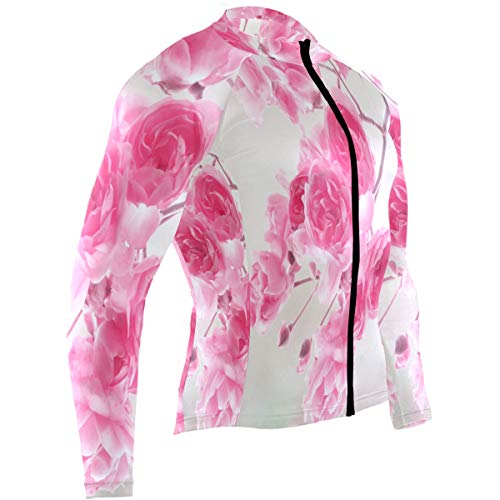 Pretty Pink Roses Mens Cycling Jersey Shirts Long Sleeve Outdoor Biking Clothing Outfit