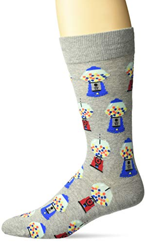 Hot Sox Men's Food and Booze Novelty Casual Crew Socks, Gumballs (Grey Heather) Shoe Size: 6-12 ()