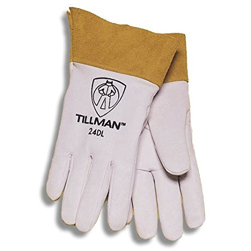 John Tillman and Co 24CS Kidskin Premium Grade TIG Welders Glove with Kevlar Stitching, Straight Thumb and 4'' Cuff, Small, Pearl Gray
