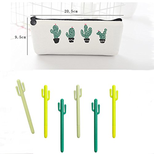 Cactus Ballpoint Pen, 6 pcs Cute Cactus Premium Black Gel Ink Office Writing Pens with Cactus Canvas Pen Case Pencil Bag for School Office Supply Gift Stationery(Cactus Pen set) by wanxing (Image #6)