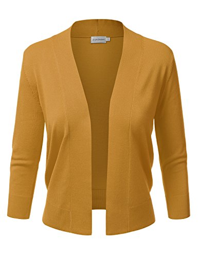 JJ Perfection Women's Basic 3/4 Sleeve Open Front Cropped Cardigan, Awocas056_mustard, Small