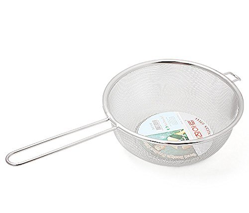 "Stainless Steel Fine Mesh Strainer Colander with Handle D 8'' x H 3.15"" x L15'' – Cooking Frying Washing - Vegetable Fruit Seafood Noodles Sifter Sieve - Large"