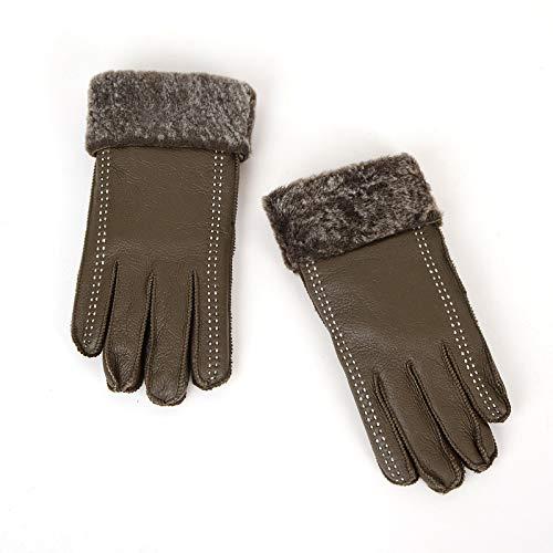 Smino レザー手袋 秋冬用レザー手袋 レディース 厚手 暖かいライディンググローブ B07JGP4MMZ  ワンサイズ ArmyGreen