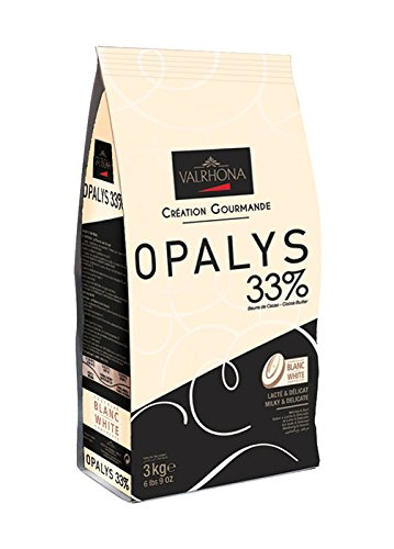 Valrhona White Chocolate Couverture Opalys 33% cocoa 32% sugar 44% fat content 32% milk - 3Kg - Feves by Valrhona (Image #1)