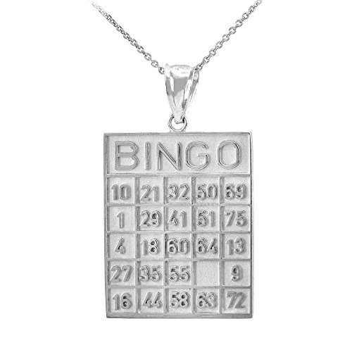 Solid 14k White Gold Bingo Card Square Tile Pendant Necklace, (14k Gold Bingo Card Charm)