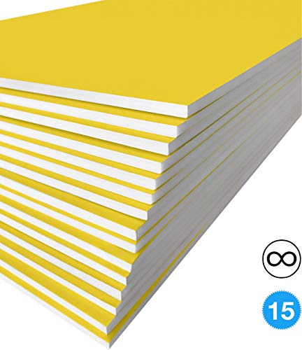 Painting Foam Board - Excelsis Design, Pack of 15, Foam Boards, 20x30 Inches, Yellow Color (More Colors Available) 3/16 Inch Thick Mat, (Acid-Free Foam Core Backing Boards, Double-Sided Sheets)