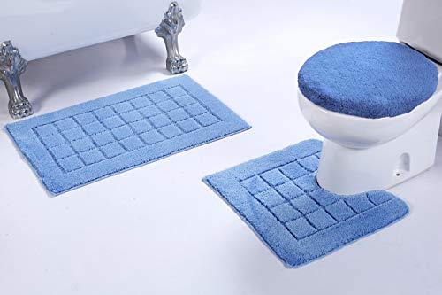 Rug Square Contour (Fancy Linen 3pc Non-Slip Bath Mat Set with Square Pattern Solid Light Blue Bathroom U-Shaped Contour Rug, Mat and Toilet Lid Cover New # Bath 60)