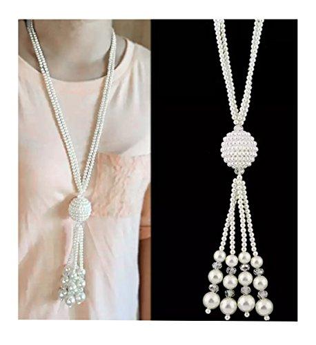 Tassel Strand Necklace (Nataliya Long Pendant Necklace (Pearl Bead Multi Strand Tassel Necklace))