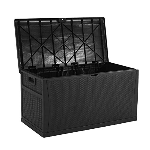 Solaura Outdoor Storage Deck Box-120 Gallon Black Wicker Pattern Container Cabinet Garden Patio Furniture