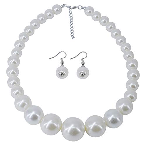 Utop Simulated Pearl Strand Necklace for Women 8mm Pearl Bead Manual Collar Necklace Black Long 55