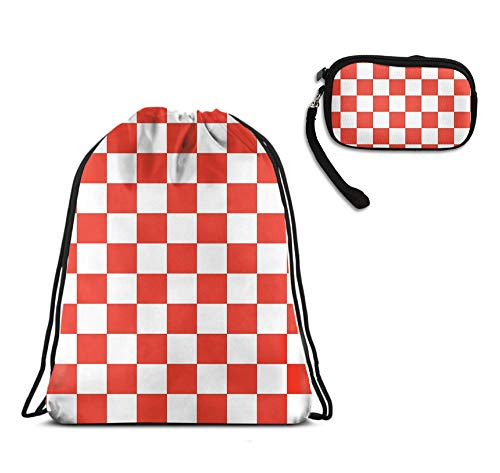 Women Teens Girls Red And White Checkered Sports Drawstring Backpack Wallet Zipper