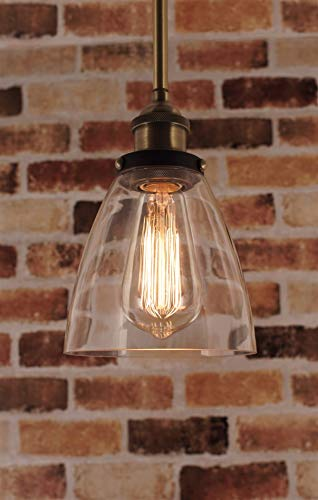 "Kira Home Porter 8"" Vintage Industrial Pendant Light + Mini Glass Shade, Dimmable, Adjustable Height, Antique Brass + Brushed Black Finish"