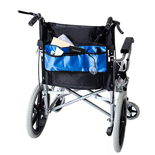 Wheelchair Bag Side Pouch Basket Storage Organizer Tote Pockets for Your Mobility Devices. Fits Most Scooters, Walkers, Rollator - Manual, Powered or Electric Wheelchairs 14 x7.5.(HZC139) (Blue)