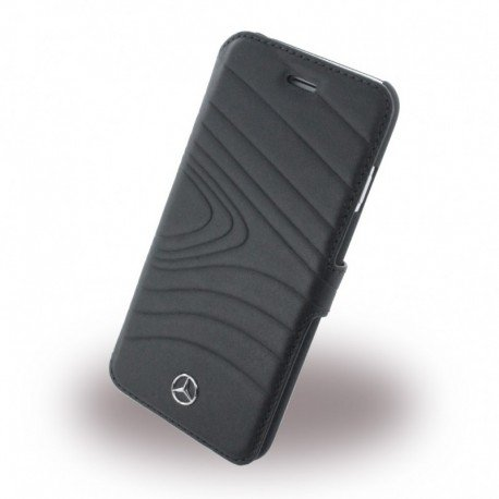 Mercedes MEFLBKP6OLBK Organic III Echt Leder Booktype Schutzhülle für Apple iPhone 6/6S schwarz
