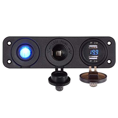 LiDiVi Dual USB Socket Charger 2.1A & 2.1A with LED Voltmeter + 12V Power Outlet+ ON-OFF Toggle Switch, Four Functions panel for Car Boat Marine RV Truck Camper Vehicle (Blue)
