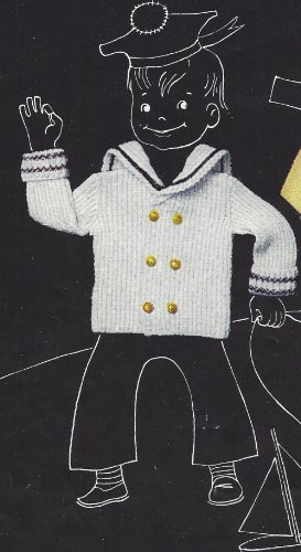Vintage Knitting PATTERN to make -Baby Toddler Sailor Sweater Jacket Coat Middy. NOT a finished item. This is a pattern and/or instructions to make the item - Knitting Coats Patterns Sweater