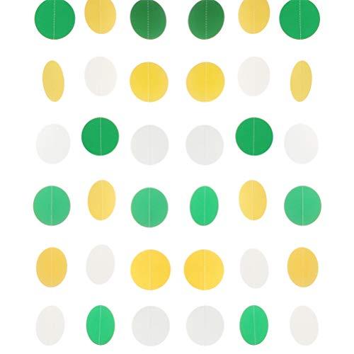 MOWO Paper Garland Circle Dots Hanging Decoration, 2.5'' in Diameter,10-feet (Yellow,Green,White, 2pc) -