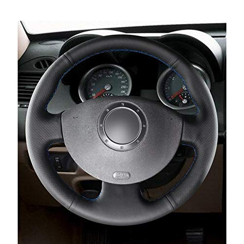 ZYTB F/ür handgen/ähte Schwarze Pu Auto Lenkradbez/üge Wrap F/ür Renault Megane 2 2003-2008 Kangoo 2008-2012 Scenic