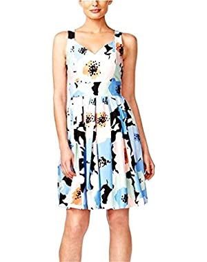 Women's Petite Pleated Floral-Print Fit & Flare Dress, Size 12P