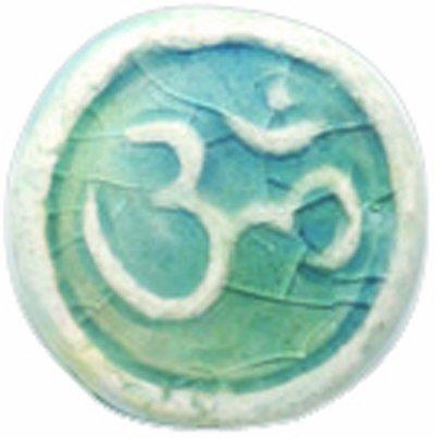 Shipwreck Peruvian Hand Crafted Ceramic Raku Glazed Om Symbol Beads, 12mm, 4 Per Pack